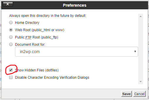 Find hidden htaccess file in cPanel 2